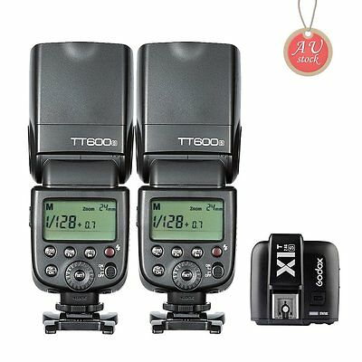 2X Godox TT600S 2.4G Wireless Flash Speedlite + X1T-S Trigger for Sony MI Camera