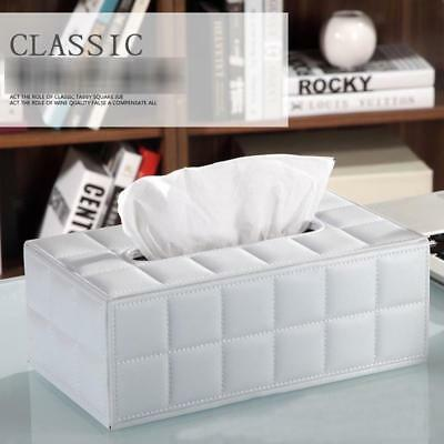 PU Leather Tissue Box Cover Toilet Paper Holder Home Car Tissue Holder White