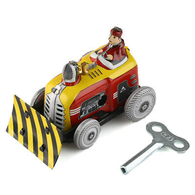 Vintage Wind Up Clockwork Bulldozer Tin Toys Tractor Driver Collectable Gift New