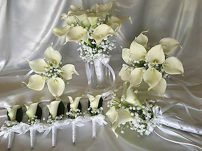 Real Touch Creamy/white Calla Lily Wedding Bridal Flower Bouquet Set Last One