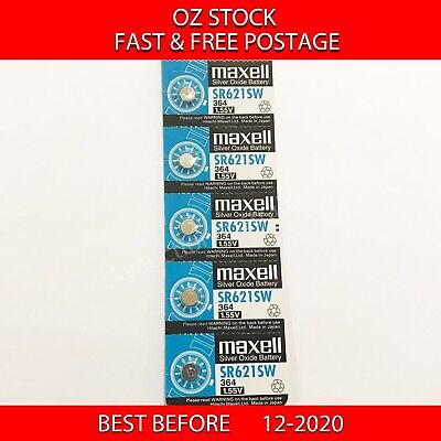 5x MAXELL SR621SW 364 1.55v Button Coin Cell Silver Oxide Battery Watch NEW