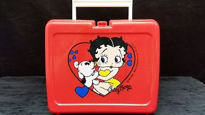 Betty Boop Vintage Plastic Collectible Red Lunch Box 1989 W/ Thermos