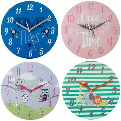 25cm Childrens Wall Clocks Round Home Kids Bedroom Modren Decoration MDF Wooden