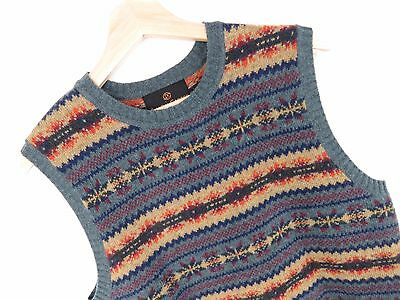 MV374 SIMON CARTER VINTAGE WAISTCOAT ORIGINAL PURE LAMBSWOOL KNITTED RETRO sizeM