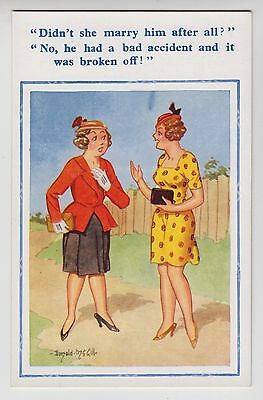 POSTCARD - Donald McGill saucy comic, gossiping ladies, double entendre #1780