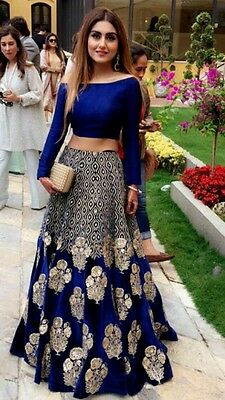Indian Bollywood New Designer Party Wear Skirt Gown Lehenga Saree Dress  Women