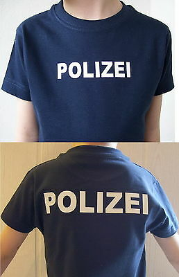 Polizei Kinder T-Shirt marineblau, Text in 2 Farb-Varianten, Gr. 86 bis 164