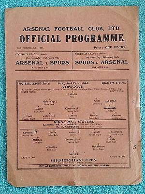 1946 - ARSENAL v BIRMINGHAM CITY PROGRAMME - FOOTBALL LEAGUE SOUTH