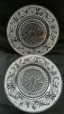 Beautiful Pair Antique Pressed Glass Floral Design Plate Charger Sawtooth Edges