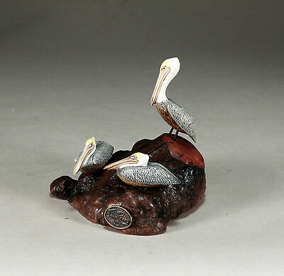 3 PELICANS Figurine New direct from JOHN PERRY 5in long Brown Statue Art