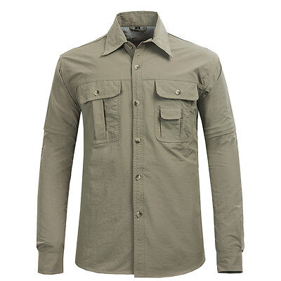 New Mens Fishing Quick Dry Shirts Removable Sleeve Sun Protection Casual Shirt