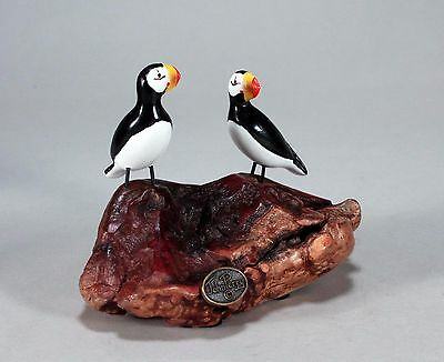 PUFFIN Duo Statue New direct from JOHN PERRY 5in tall Figurine on Burlwood Decor