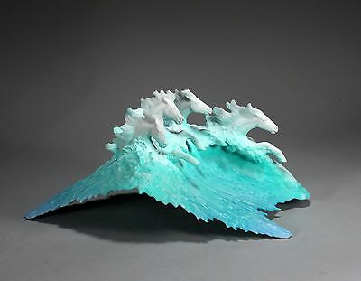SURF HORSES New direct from John Perry 14in Long Blue Wave Fantasy Sculpture Art