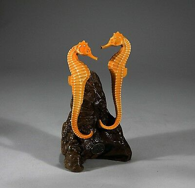 SEAHORSE Pair Sculpture New Direct from John Perry Orange 7in tall Statue Decor