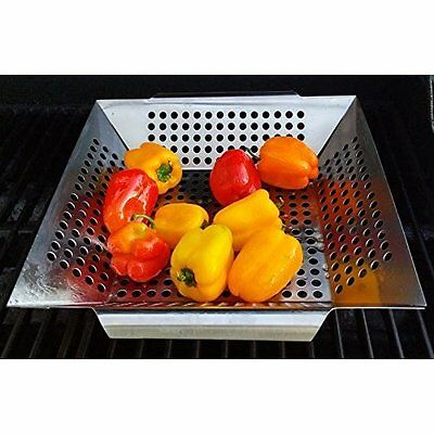 Stainless Steel BBQ Vegetable Grill Basket Retain Heat And Cooks fast HQ