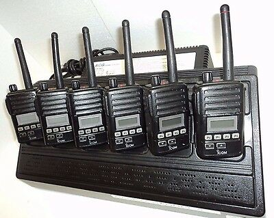 LOT 6 Icom F50V VHF portable radios 6 Charger narrowband fire pager police MIC's