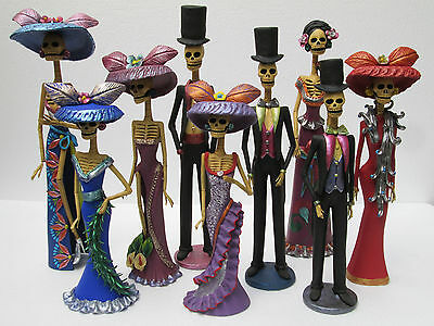 SET OF 9 CATRINAS mexican day of the dead handmade wholesale lot clay 16""