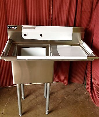 NEW 18x18 Tub 1 Compartment Prep Sink Right Side Drain Board Stainless NSF #1002