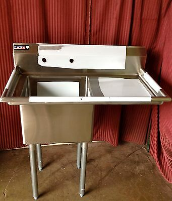 NEW Food Prep Sink 18x18 Right Side Drain Board NSF Compartment Stainless #1002