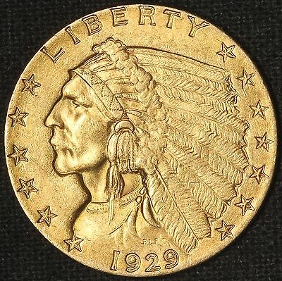 1929 $2.50 Gold Indian Quarter Eagle - Great Coin - Free Shipping