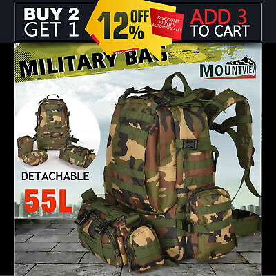 Mountview 55L Outdoor Military Bag Tactical Camping Hiking Trekking Backpack AU