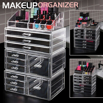 Cosmetic Makeup Organizer Storage Jewellery Box Acrylic Clear Holder 9/10 Drawer