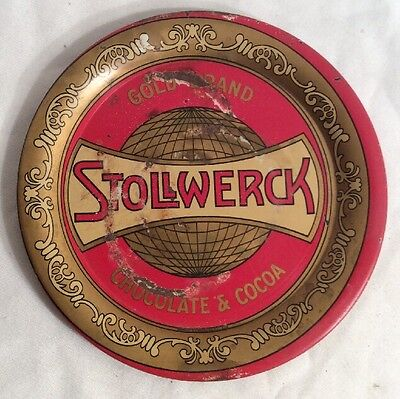 VIntage STOLLWERCK GOLD BRAND CHOCOLATE & COCOA TIN TIP TRAY