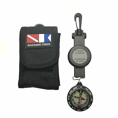 Scuba Choice Dive Compass with Retractor and Pouch Set