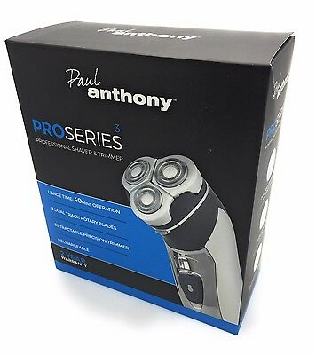 Paul Anthony Pro Series 3 Titanium Mens Rechargeable Cordless Rotary Shaver NEW