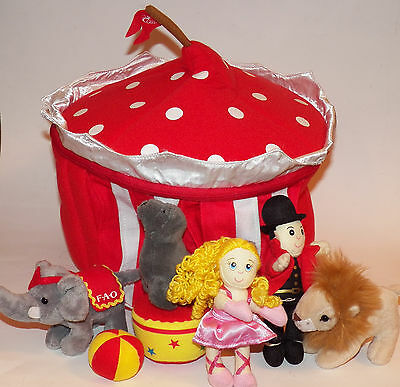 FAO Schwarz Circus Plush Lot Stuffed Lion Seal Elephant Ringmaster Girl Tent