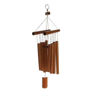 Bamboo 8-Tube Raft Pendant Church Bells Yard Home Living Wind Chimes Hearts