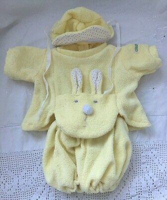 Vintage Cabbage Patch Kids PREEMIE Baby Doll Outfit YELLOW TERRY CLOTH Hat BUNNY