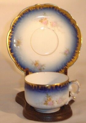 LS & S Carlsbad Austria Demitasse Cup and Saucer Blue and Gold Gilt Floral