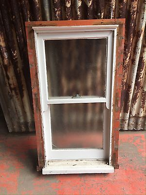 Small Timber Double Hung Bathroom Window With Frosted Glass 660w X 1155h