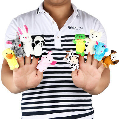 10x Family Baby Finger Puppets Cloth Doll Hand Educational Cartoon Animal Toy