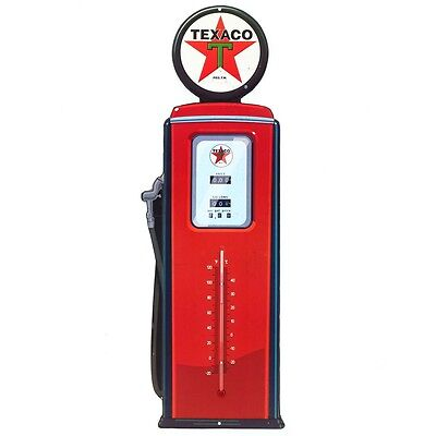 Texaco Gas Pump Embossed Tin Thermometer Sign Vintage Style Garage 7 x 20 (NEW)