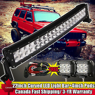 """22inch Curved Led Light Bar + 4"""" CREE Work Pods Offroad Wrangler Fog Jeep SUV 20"""