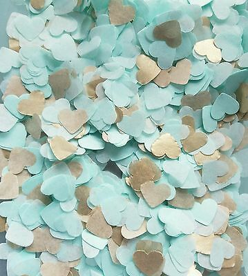 Gold and Mint Tissue Paper Heart confetti Wedding throwing confetti 3 handfuls
