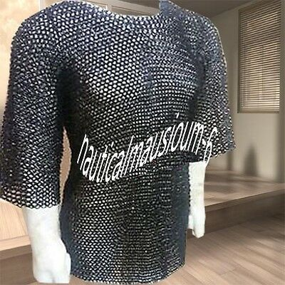 Flat Rivet With Flat Washer Chainmail M Size Half sleeve Hubergion Shirt Black