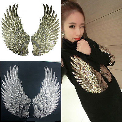 1Pair Sequin Angel Wings Embroidery Lace Applique Sew/Iron Patch Cloth Craft DIY