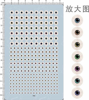 Universal All Scale Color Type Eyes Ball for Figures Model Water Slide Decal 731