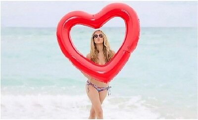 Inflatable Red Love Heart Rubber Ring Lilo, Red love Heart pool float.