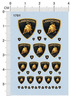 All Different Scale Size 1/24 1/18 1/12 1/10 Lamborghini Model Water Slide Decal