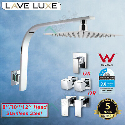 WELS 8/10/12'' Square ULTRATHIN Shower Head Set Gooseneck Arm Mixer Taps Chrome