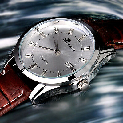 Classic Men's Business Watch Analog Quartz Steel Leather Stap Watches Decor