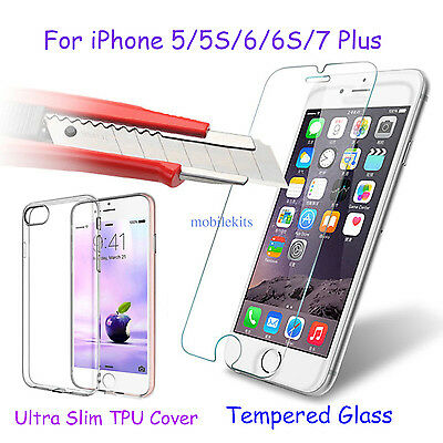 Ultrathin Soft TPU Phone Case Cover+ Tempered Glass for Apple iPhone 5 5S 6 6s 7