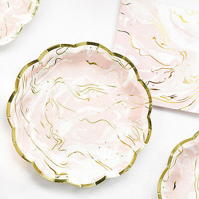 8 Porcelain Pink Paper Plates Pretty Marble Effect Pink Birthday Party Tableware