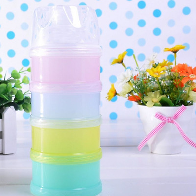 4 Layers Milk Powder Case Formula Dispenser Travel Kids Baby Feeding Container