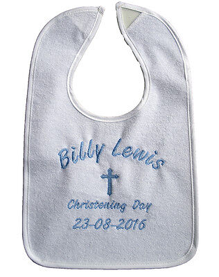 Personalised Embroidered Baby Bib White Christening Baptism Naming Day Free Name