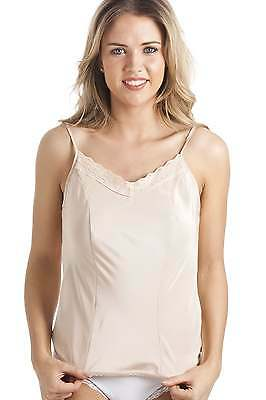 Camille Womens Ladies Luxury Beige Lace Trim Camisole Top